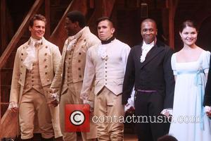 Jonathan Groff, Okieriete Onaodowan, Jon Rua, Leslie Odom Jr , Phillipa Soo - Opening night of the Broadway musical Hamilton...