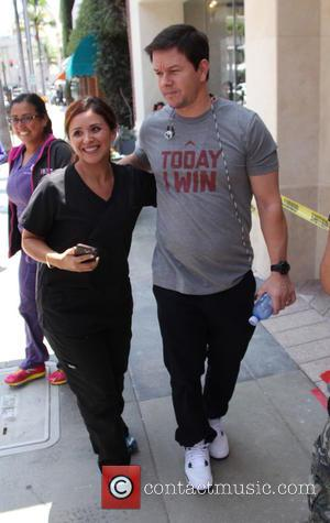 Mark Wahlberg - Mark Wahlberg has soup for lunch then poses with fans in Beverly Hills wearing a 'Today I...
