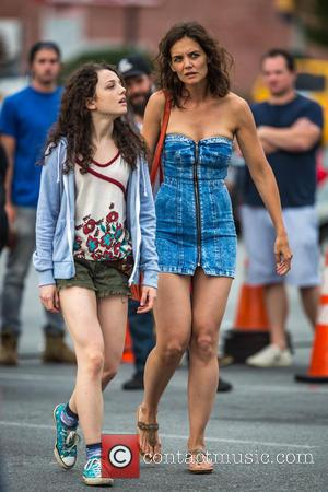 Katie Holmes , Stefania Owen - Katie Holmes wearing a zipped front denim dress shopping at Walmart in Queens for...