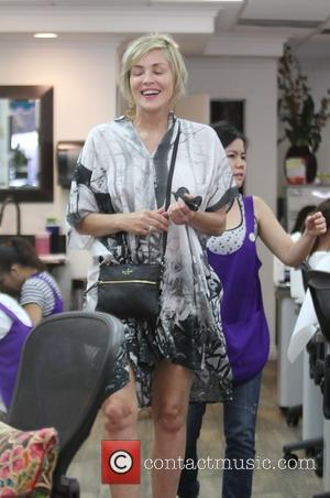 Sharon Stone - Sharon Stone in high spirits goes to a nail salon in Beverly Hills - Los Angeles, California,...