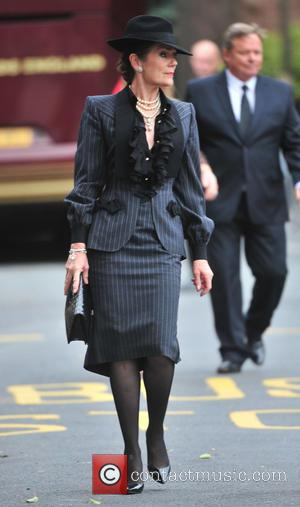 Lorraine Chase - The funeral of Cilla Black at St Mary's Church - Cheshire, United Kingdom - Thursday 20th August...