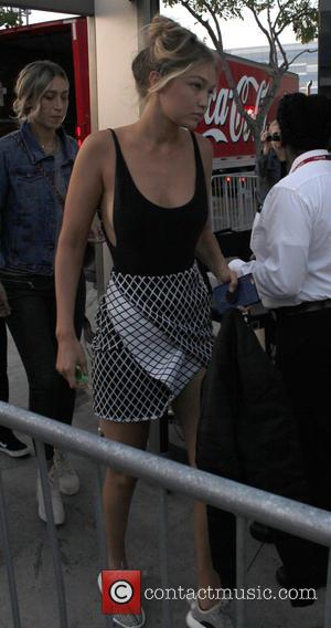 Gigi Hadid - Celebrities arrive to watch Taylor Swift in concert at the Staples Center at Staples Center - Los...