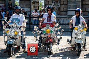 Atmosphere - Around 30 Mods on scooters, including Vespas and Lambrettas, arrive to celebrate the extension of Somerset House's 'The...