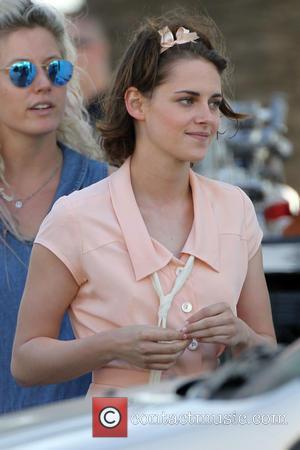 Kristen Stewart - Kristen Stewart and Jesse Eisenberg film a kissing scene in Santa Monica for Woody Allen's untitled movie...