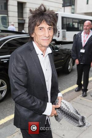 Ronnie Wood - Ronnie Wood pictured arriving at the Radio 2 studio at BBC Western House - London, United Kingdom...