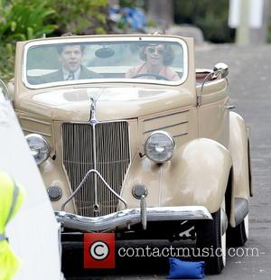 Kristen Stewart , Jesse Eisenberg - Kristen Stewart driving a classic car for a scene in the upcoming movie 'Woody...