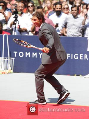 Rafael Nadal - #Tommyxnadal celebrating the launch of Tommy Hilfiger's new line of custom suits and underwear in Bryant Park...