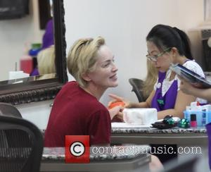 Sharon Stone - Make-up free Sharon Stone gets her nails done in Beverly Hills - Los Angeles, California, United States...