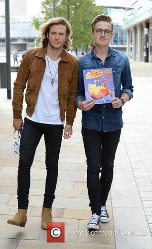 Tom Fletcher , Dougie Poynter - Celebrities leave the BBC Breakfast studios - Manchester, United Kingdom - Friday 28th August...
