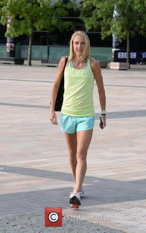 Paula Radcliffe - Paula Radcliffe leaves the BBC Breakfast studios in Media City - Manchester, United Kingdom - Friday 28th...