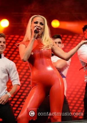 Sarah Harding - Sarah Harding performs in a red PVC Suit on the main stage at  Manchester Pride The...