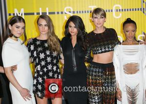 Actress Hailee Steinfeld, actress Cara Delevingne, actress/singer Selena Gomez, recording artist Taylor Swift , actress Serayah - Celebrities attend 2015...