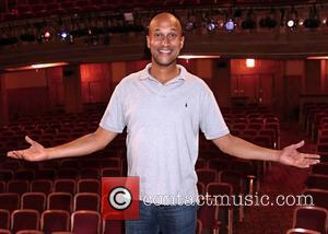 Keegan-Michael Key - Keegan-Michael Key visits the cast of the Broadway play 'Hand To God' at the Booth Theatre at...