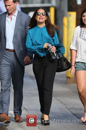 Salma Hayek - Salma Hayek seen arriving at ABC studios for Jimmy Kimmel Live! at Hollywood - Los Angeles, California,...