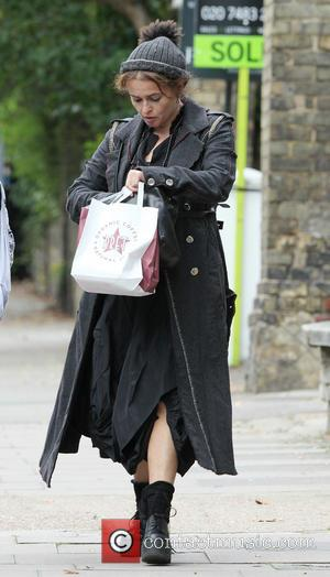 Helena Bonham Carter - Helena Bonham Carter out and about in London with son Billy Burton at hamstead - London,...
