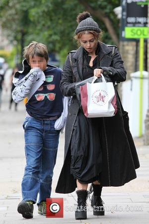 Helena Bonham Carter , Billy Raymond Burton - Helena Bonham Carter out and about in London with son Billy Burton...