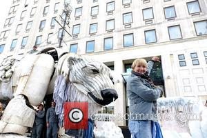 Emma Thompson - Greenpeace activists install giant polar bear outside Shell's London headquarters. Greenpeace campaigners, including actress Emma Thompson, install...