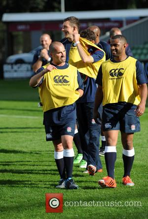 Louie Spence , JB Gill - Photocall and training for Rugby Aid 2015 at The Twickenham Stoop. - London, United...
