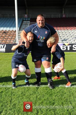 Louie Spence, Terry Hollands , Jamie Laing - Photocall and training for Rugby Aid 2015 at The Twickenham Stoop. -...