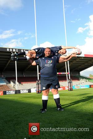 Louie Spence , Terry Hollands - Photocall and training for Rugby Aid 2015 at The Twickenham Stoop. - London, United...