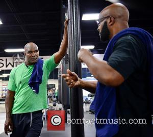 Evander Holyfield , Michael Moorer - Heavyweight Boxers Press Conference in advance of Heavyweight Bouts at Lucky Street Gym at...