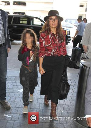 Salma Hayek , Valentina Paloma Pinault - Salma Hayek and her daughter Valentina arriving at Los Angeles International Airport (LAX)...