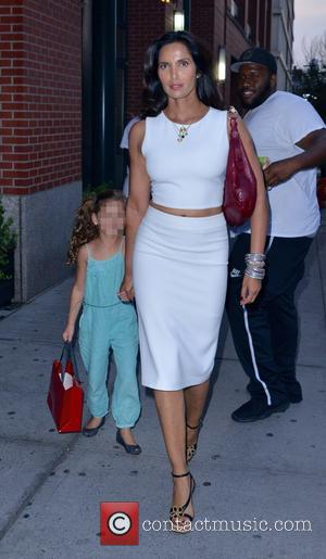 Padma Lakshmi , Krishna Thea Lakshmi-Dell - Padma Lakshmi out and about with her daughter in New York City -...