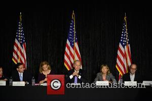 Jane Levy, Rabbi Jonathan Berkun, Rep. Debbie Wasserman Shultz, Vice President Joe Biden, Debby Eisinger and Rabbi Bennett Greenspon