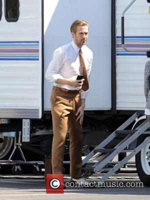 Ryan Gosling - Actor Ryan Gosling sports 70's attire for a scene in