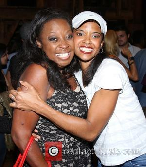 Star Jones , Renee Elise Goldsberry - Backstage visit at the Broadway musical Hamilton at the Richard Rodgers Theatre. at...