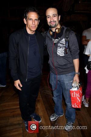 Ben Stiller , Lin-Manuel Miranda - Backstage visit at the Broadway musical Hamilton at the Richard Rodgers Theatre. at Richard...