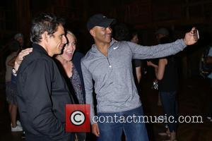 Ben Stiller, Christine Taylor , Christopher Jackson - Backstage visit at the Broadway musical Hamilton at the Richard Rodgers Theatre....