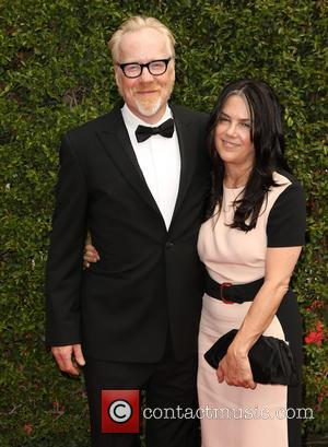 Adam Savage , Julia Ward - 2015 Creative Arts Emmy Awards at Microsoft Theater - Arrivals at Microsoft Theater, Emmy...