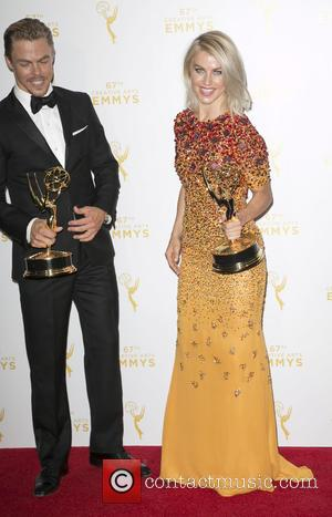 Derek Hough , Julianne Hough - 2015 Creative Arts Emmy Awards at Microsoft Theater- Press Room at Microsoft Theater, Emmy...