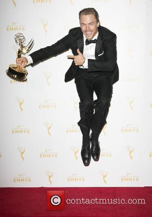 Derek Hough - 2015 Creative Arts Emmy Awards at Microsoft Theater- Press Room at Microsoft Theater, Emmy Awards - Los...