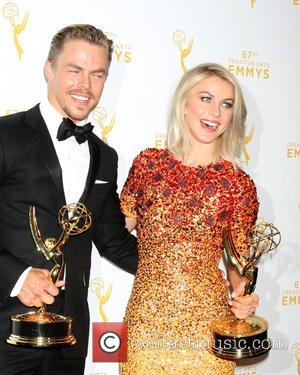 Derek Hough , Julianne Hough - 2015 Creative Arts Emmy Awards at Microsoft Theater- Press Room at Microsoft Theater at...