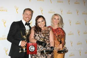 Derek Hough, Tessandra Chavez , Julianne Hough - 2015 Creative Arts Emmy Awards at Microsoft Theater- Press Room at Microsoft...