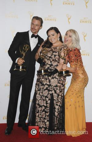 Julianne Hough, Tasandra Chavez , Derek Hugh - 2015 Creative Arts Emmy Awards at Microsoft Theater- Press Room at Emmy...