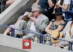 Michael Douglas, Catherine Zeta-Jones , Carys Zeta Douglas - 2015 US Open Tennis - Women's Final against Flavia Pennetta and...
