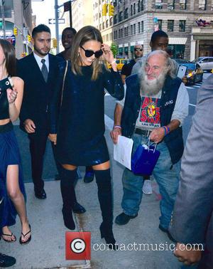 Jessica Alba - Jessica Alba at the Trump Soho New York Hotel wearing a blue sequin dress and black knee...