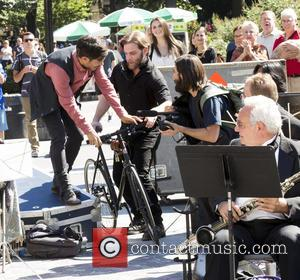 Gael García Bernal , Jason Schwartzman - On Location with Mozart in the Jungle at Washington Square Park - New...