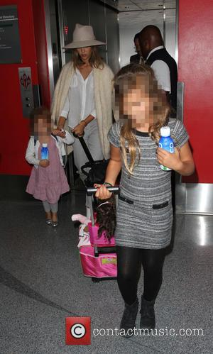 Jessica Alba, Honor Marie Warren , Haven Garner Warren - Jessica Alba arrives at Los Angeles International Airport (LAX) -...