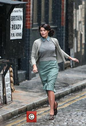 Gemma Arterton - Gemma Arterton and Sam Claflin film a scene for the movie 'Their Finest Hour and a Half'...