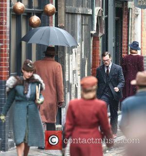 Sam Claflin - Gemma Arterton and Sam Claflin film a scene for the movie 'Their Finest Hour and a Half'...