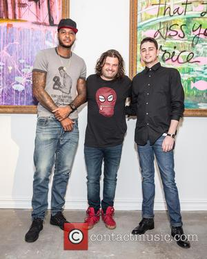 Carmelo Anthony  Domingo Zapata  Phoenix Eisenberg - VIP opening reception for Domingo Zapata's 'From the Garden of Eden...
