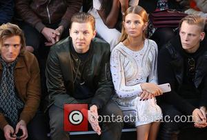 Dougie Poynter, Professor Green , Millie Mackintosh - London Fashion Week Spring/Summer 2016 - Julien Macdonald - Front Row at...