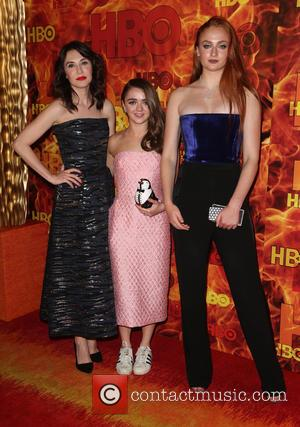 Sibel Kekilli, Maisie Williams , and Sophie Turner - HBO's Official 2015 Emmy After Party at Pacific Design Center -...