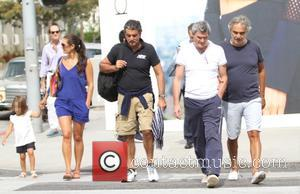 Andrea Bocelli, Veronica Berti , Virginia Bocelli - Andrea Bocelli goes out to lunch with his family at Il Pastaio...
