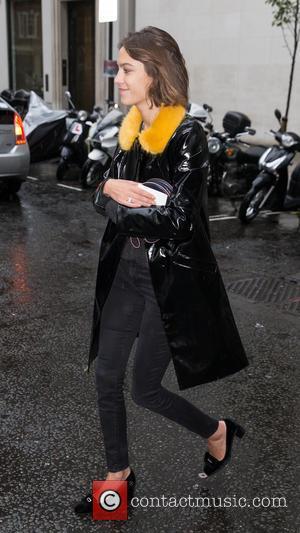 Alexa Chung - Alexa Chung pictured arriving at the Radio 1 studios at BBC Portland Place - London, United Kingdom...