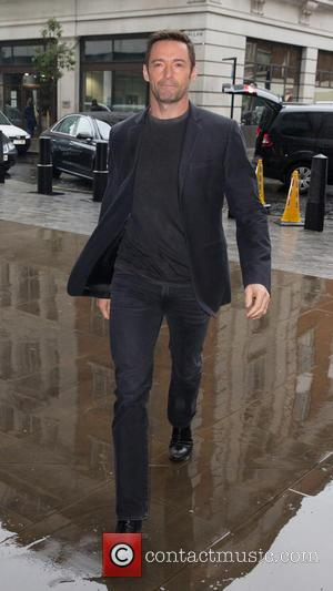 Hugh Jackman - Hugh Jackman pictured arriving at the Radio 1 studios to promote the new film 'Pan' at BBC...